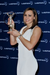 RIO DE JANEIRO, BRAZIL - MARCH 11: Track and field athlete Jessica Ennis with her award for 'Laureus Sportswomen of the Year' attends the Winners Press Conferences & Photocall at the Theatro Municipal Do Rio de Janeiro during the 2013 Laureus World Sports Awards on March 11, 2013 in Rio de Janeiro, Brazil. (Photo by Gareth Cattermole/Getty Images For Laureus)